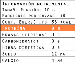 Información nutrimental del colágeno hidrolizado 500 g de Brillarmas