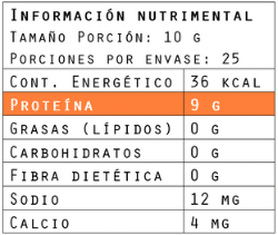 Información nutrimental del colágeno hidrolizado 250 g de Brillarmas