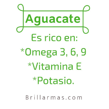 Ingredientes naturales del aguacate.