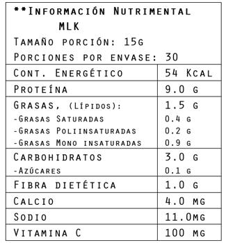 Información nutrimental del colágeno sabor chocolate Avocoa 450 g de Brillarmas