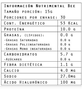 Información nutrimental del colágeno sabor betabel 450 g de Brillarmas