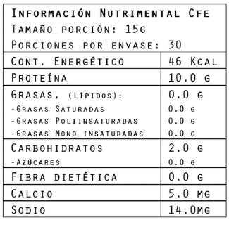 Información nutrimental del colágeno sabor café Coffee 450 g de Brillarmas