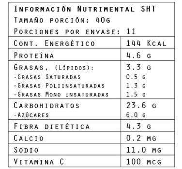 Información nutrimental del Hot-Cake Spirulina 440 g de Brillarmas